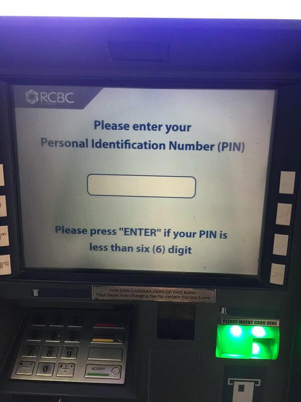 海外ATMの画面